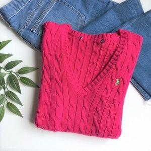 Ralph Lauren Cotton V-Neck Cable Knit Sweater L
